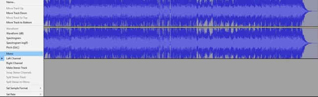 how to remove vocals in Audacity: Set each track to mono
