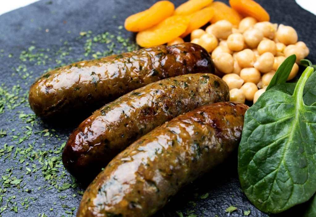 Moroccan Lamb Sausages with Spinach, Chickpeas and Apricots