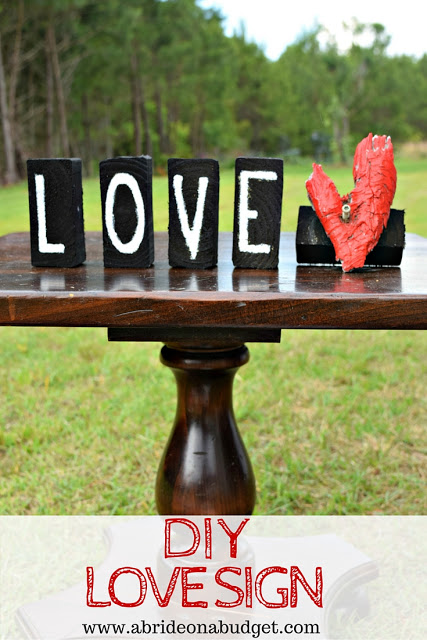 Love sign made of scrap wood