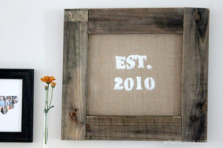 Framed burlap wall hanging made of extra building materials