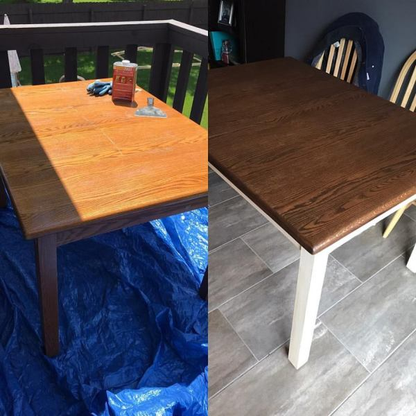 Before and after refinishing a kitchen table