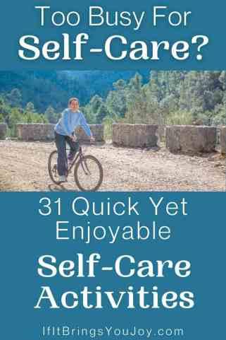 Woman biking for self-care activity