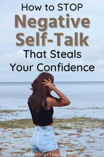 Woman trying to stop negative self-talk