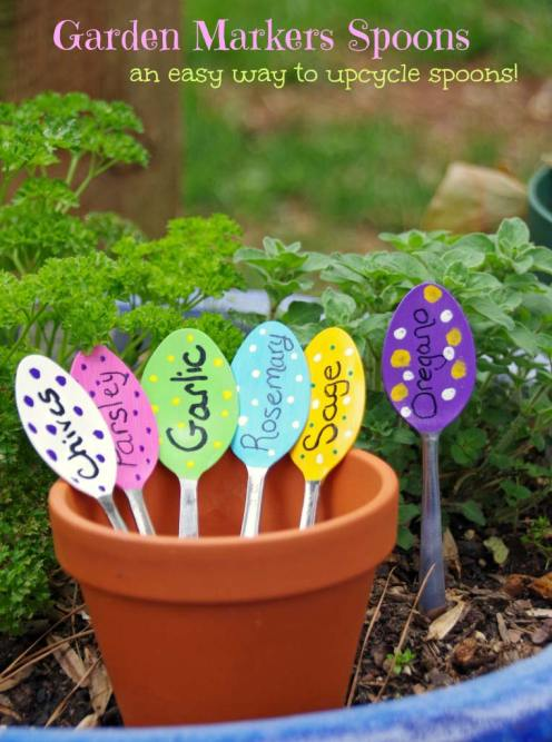Easy DIY garden markers made from up cycled spoons
