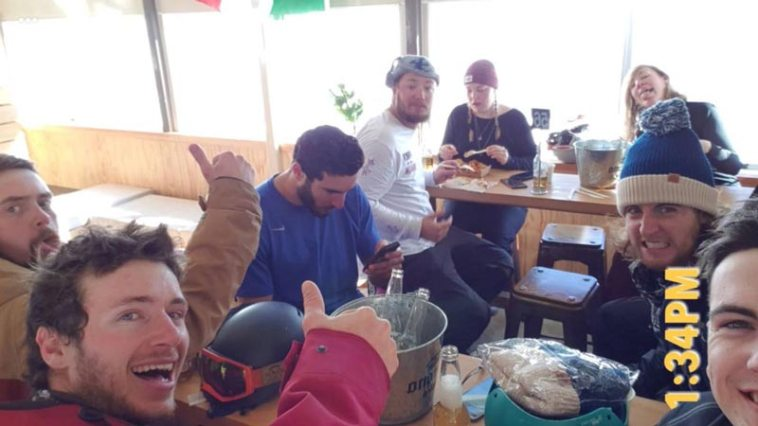 Friends having fun in the lodge at Mt. Ruapehu ski mountain in New Zealand.