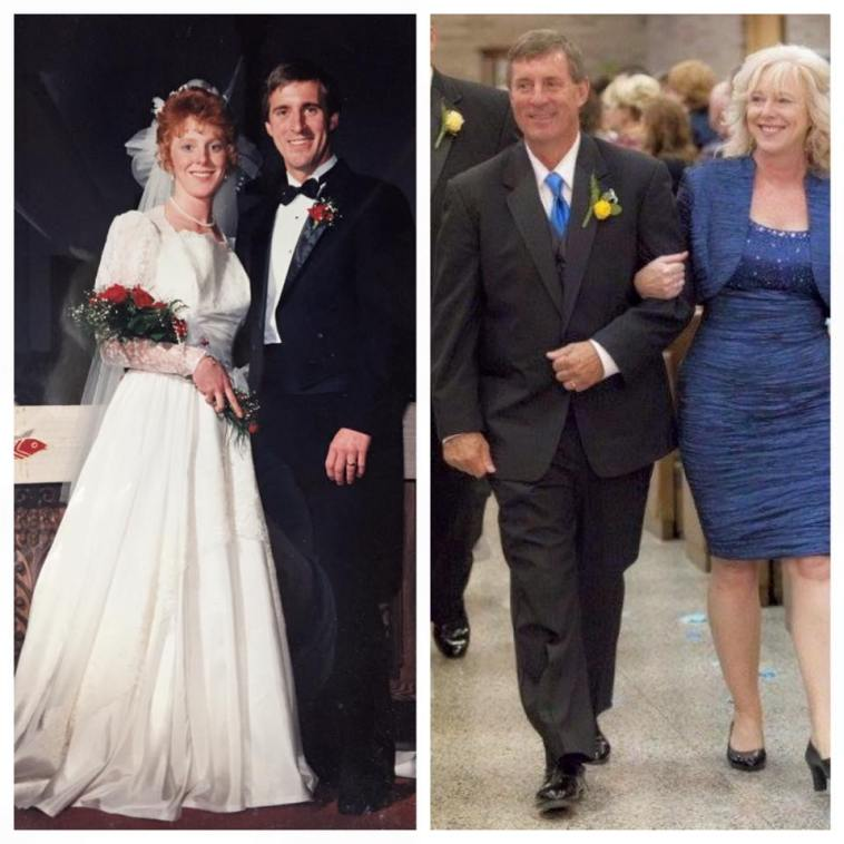 Our wedding, and then us at our daughter's wedding.