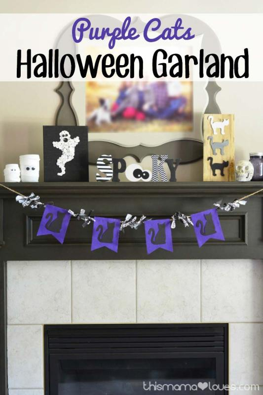 Purple cats Halloween garland