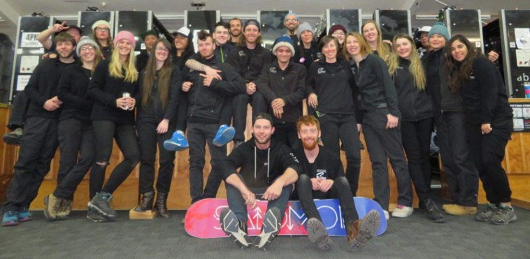 New Zealand ski mountain workers and friends