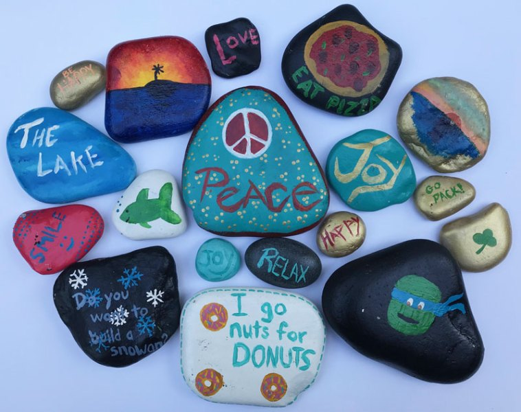 Collection of kindness rocks.