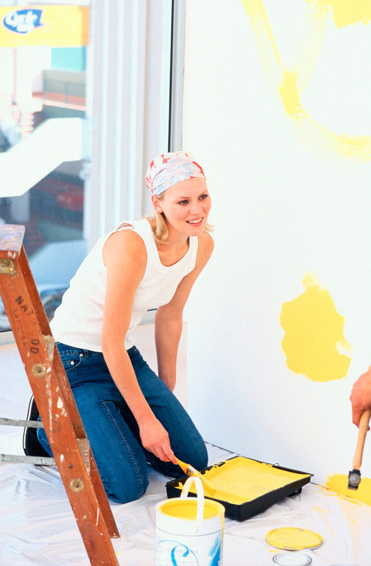 Painting a room with a bright color to brighten up winter.