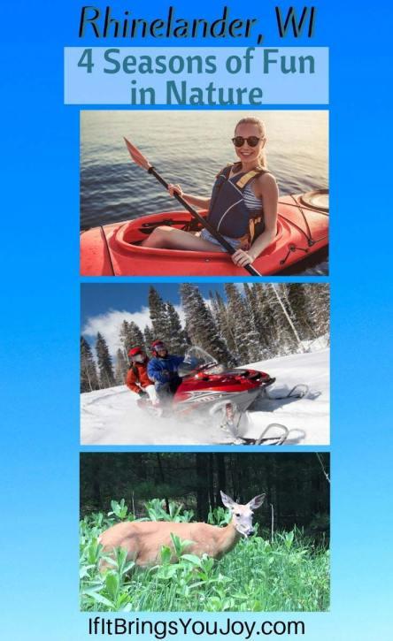 Kayaker, snowbilers, and a deer
