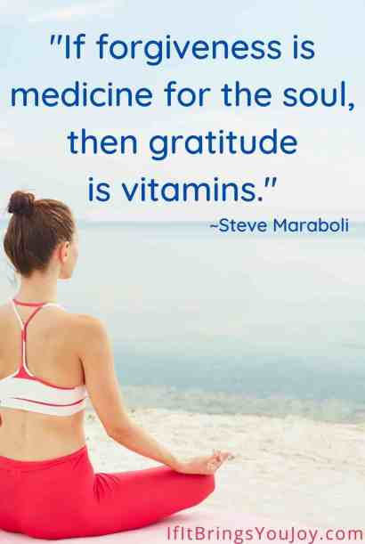 Woman meditating on the beach with quote by Steve Maraboli