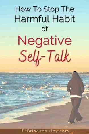 Woman walking on beach knowing negative self-talk is a harmful habit.