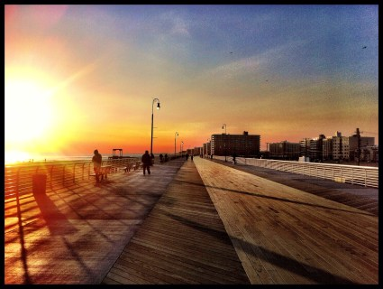 Reconstructed boardwalk in Long Beach, Long Island, after being destroyed by Hurricane Sandy