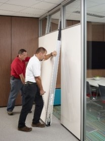 Glass and markerboard wall installation