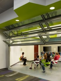 Skyfold glass partition
