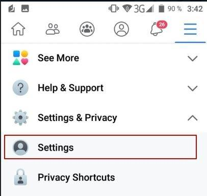 In the submenu open the setting