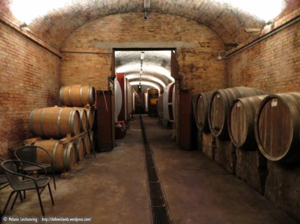 The underground wine cellar
