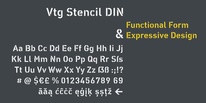 Vtg Stencil DIN Font Family