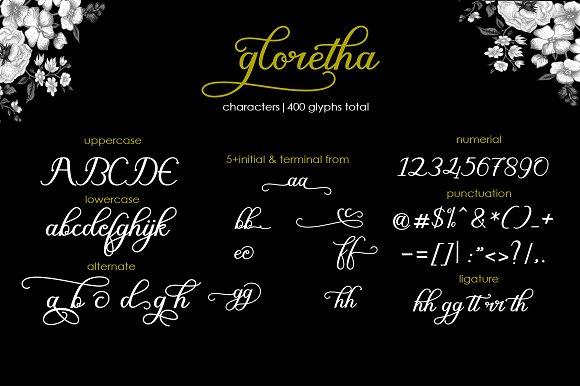 gloretha script Font