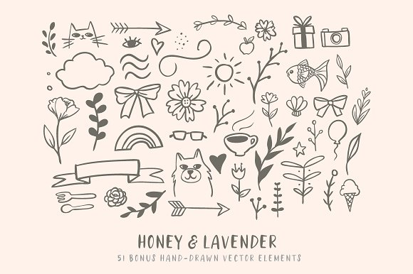 Honey & Lavender Cute Font + Extras