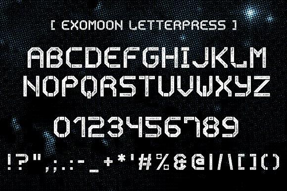 Exomoon display stencil font