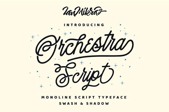 CreativeMarket Orchestra Script - Monoline Typeface
