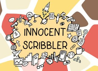 Innocent scribbler with doodle icons Font