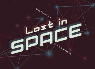 Lost in space. Futuristic typeface