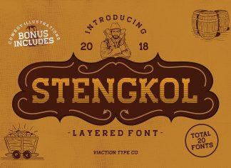 Stengkol Font Family + Illustration