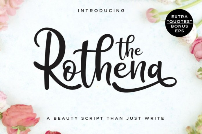 Rothena Script with extra quotes Font