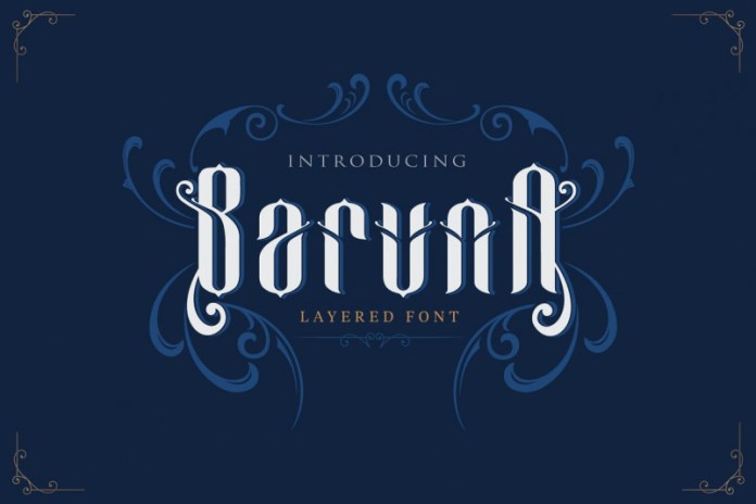 Baruna - Layered font with ornament