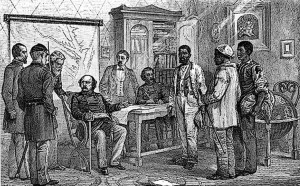 """This period print shows Maj. Gen. Benjamin F. Butler interviewing the three runaway slaves -- traditionally identified as Shepard Mallory, Frank Baker and James Townsend -- who sparked his landmark May 24, 1861 decision to give such slaves refuge as """"contraband of war."""""""