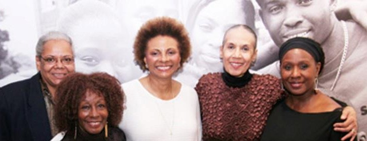 """""""The River Crosses Rivers"""" Venida Evans, Vinie Burrow, Leslie Uggams, Carmen Delavallade and Elain Graham celebrate at THE RIVER CROSSES RIVERS opening night party on (2009) the Castillo Theatre in New York. a festival of seven short one-act plays by women of color, originally produced in the Going To The River run at the Ensemble Studio Theatre"""