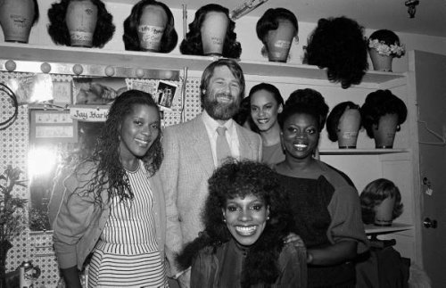 Brian Wilson backstage at DREAMGIRLS backstage- 1982. — with Loretta Devine, Sheryl Lee Ralph, Terry Burrell and Julia Nixon