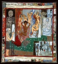 Faith Ringgold, The French Collection Part 1: # 7 Picasso's Studio, 1991, Acrylic on Canvas, Pieced fabric border.