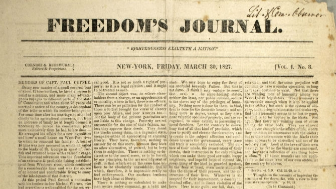 Freedom's Journal, March 30, 1827