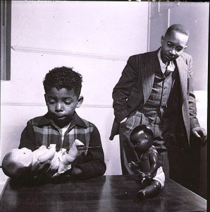 "Gordon Parks, photographer. Dr. Kenneth Clark conducting the ""Doll Test"" with a young male child, 1947. Gelatin silver print. Prints and Photographs Division, Library of Congress"