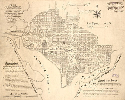 "This plan of the city of Washington, D.C., from 1791 shows Banneker's work as surveyor of our country's capital CREDIT: ""Plan of the city of Washington in the territory of Columbia : ceded by the states of Virginia and Maryland to the United States of America,"" 1792(?). Geography and Map Division, Library of Congress. Call Number G3850 1792 .E41 Vault. br />"