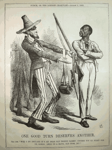 President Lincoln Recruiting a negro to-fight one good turn.