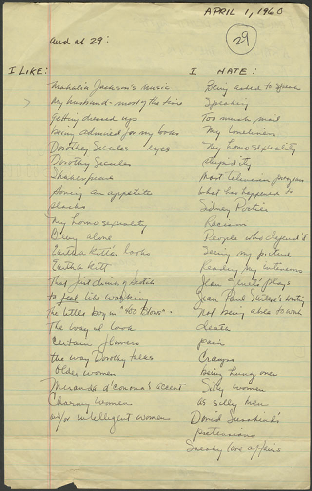 Lorraine Hansberry's Random List of Likes and Hates. ~ April 1, 1960 - Courtesy of the New York Public Library