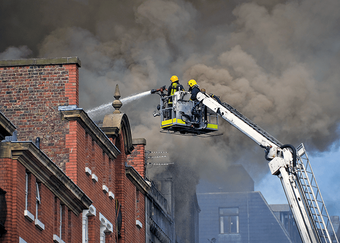 Fire crews battle a fire at the Glasgow School of Art's Mackintosh building in May, 2014. Image courtesy of FIA.
