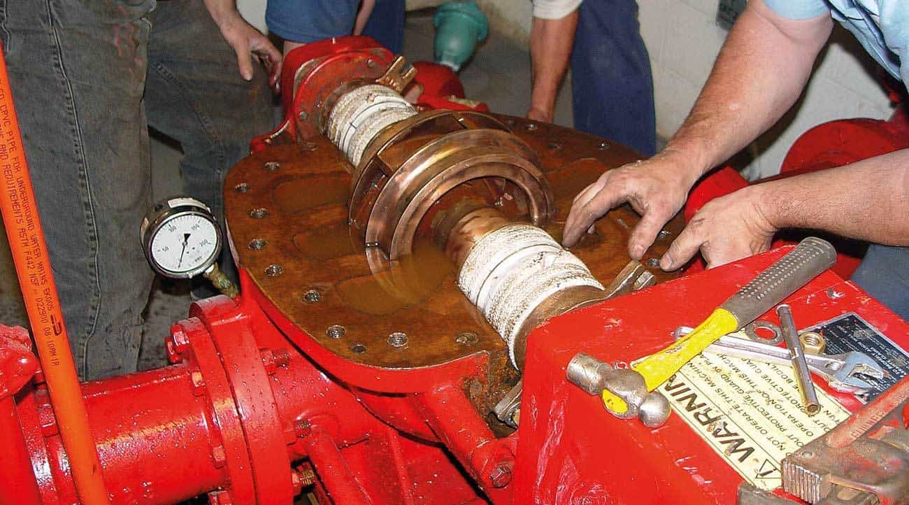 The regular maintenance and inspection requirements for fire pump assemblies – such as this horizontal split case pump – are evaluated in the commercial fire sprinkler inspector certification examination.