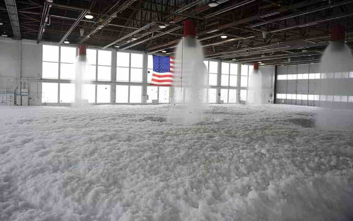 Aqueous Film-Forming Foam, or AFFF, at a hangar at Mountain Home Air Force Base, Idaho. Photo: U.S. Air Force