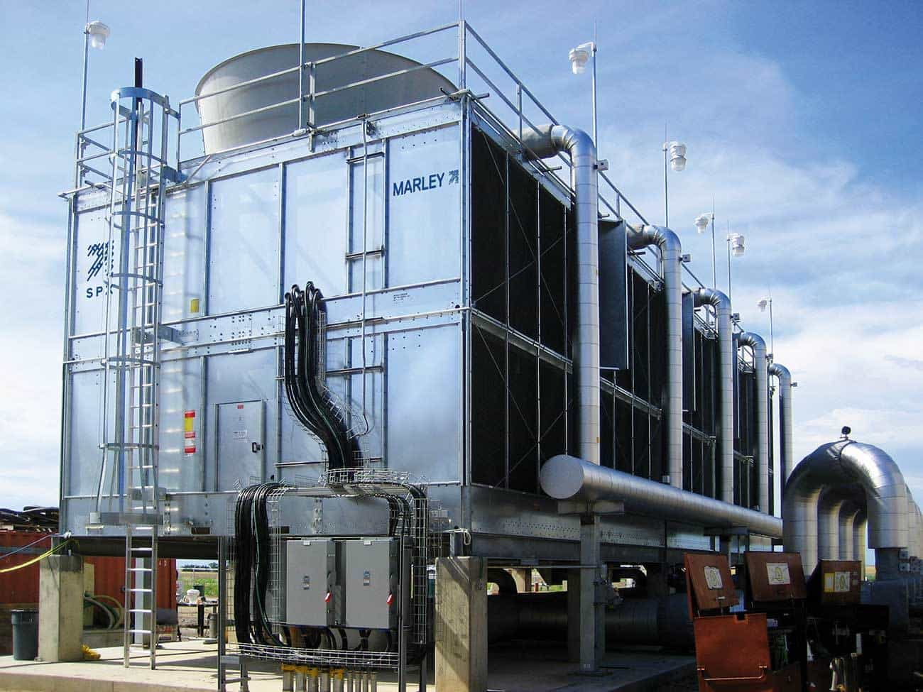 Figure 3 – FM Approved multi-cell Marley® cooling tower from SPX Cooling Technologies, Inc. is available as a factory-assembled or field-erected system. Reproduced with permission from SPX Cooling Technologies Inc.