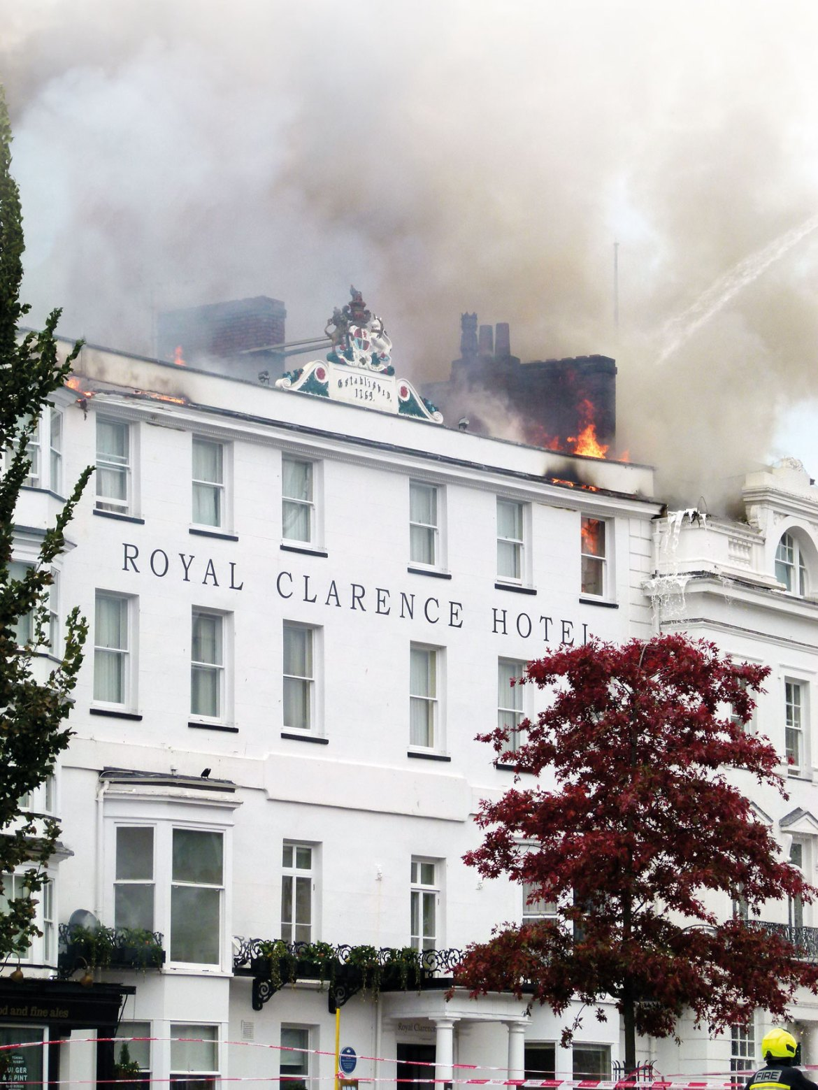 Fire spread at roof level on the Royal Clarence Hotel.