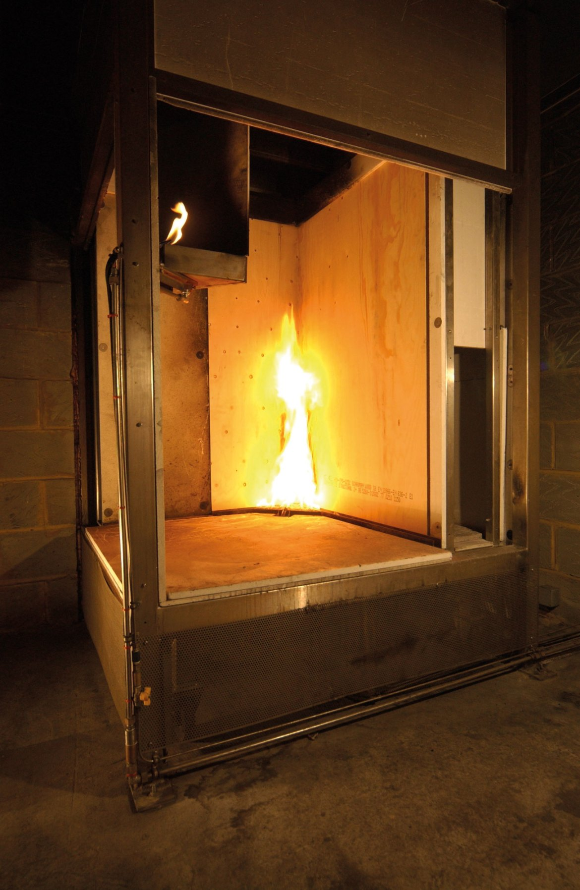 Typical test chamber in which smoke and toxicity testing is conducted for materials used in an aircraft.