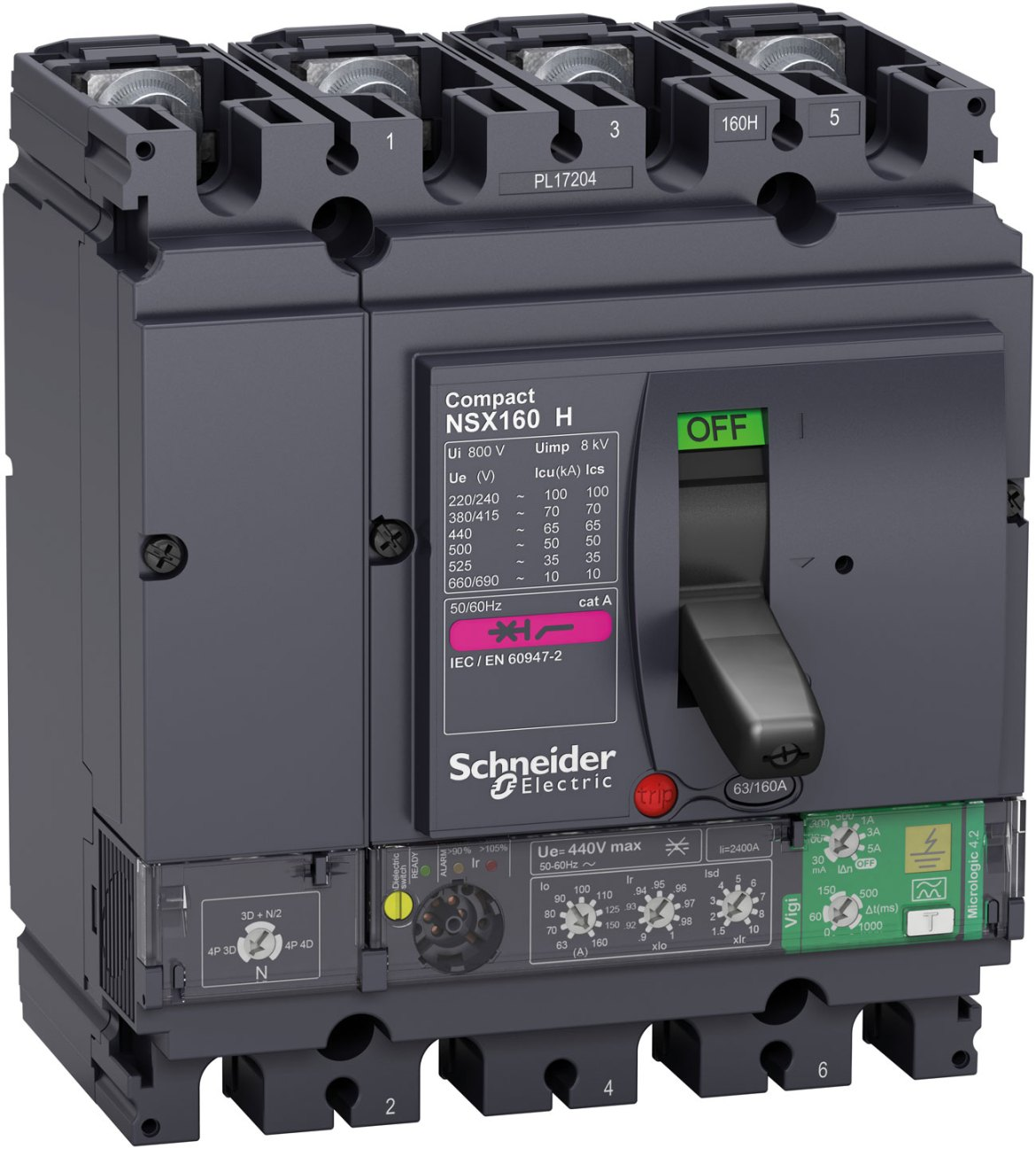 Compact NSX160 H circuit breaker, combining intelligent metering and monitoring with protective functions.
