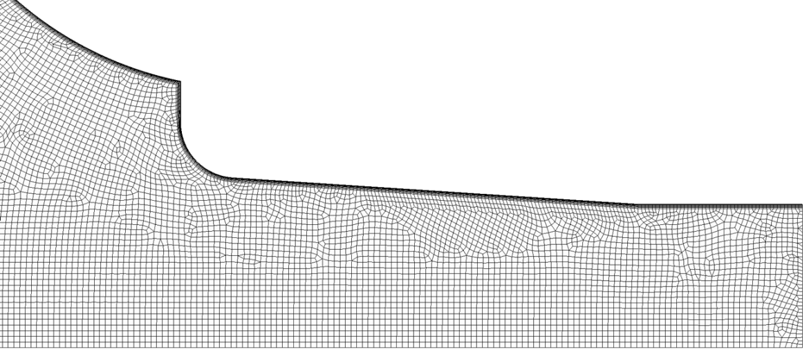 """Figure 4. Computational mesh for the """"Standard"""" inlet (an enlarged view near the nozzle)."""