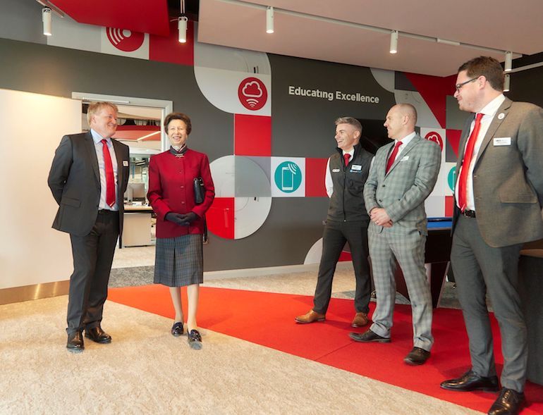 HRH Princess Anne on her Royal visit to Aico, pictured with Aico Managing Director Neal Hooper and colleagues. (Aico)